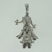 Sterling Silver Cubic Zirconia Moveable small Ragdoll Pendant 3g